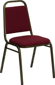 Burgundy Fabric Stacking Banquet Chair with Trapezoidal Back with Gold Vein Frame