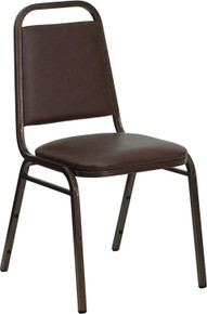Brown Vinyl Stacking Banquet Chair with Trapezoidal Back with Copper Vein Frame