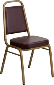 Brown Vinyl THICK CUSHION Stacking Banquet Chair with Gold Frame