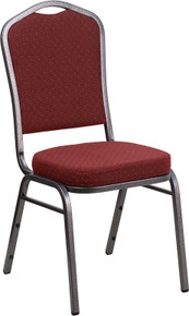 Burgundy Patterned Fabric Crown Back Stacking Banquet Chair with Silver Vein Frame