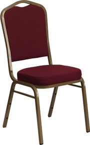 Burgundy Fabric Crown Back Stacking Banquet Chair with Gold Frame