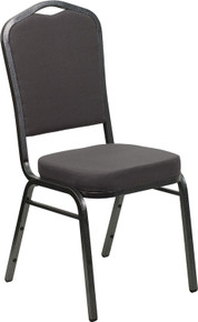 Gray Fabric Crown Back Stacking Banquet Chair with Silver Vein Frame
