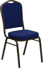 Navy Blue Patterned Fabric Crown Back Stacking Banquet Chair with Gold Vein Frame