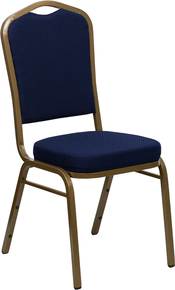Navy Blue Patterned Fabric Crown Back Stacking Banquet Chair with Gold Frame