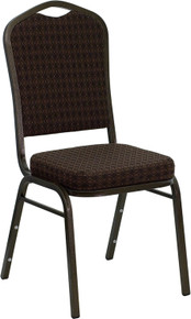 Brown Patterned Fabric Crown Back Stacking Banquet Chair with Gold Vein Frame