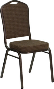 Brown Patterned Fabric Crown Back Stacking Banquet Chair with Copper Vein Frame