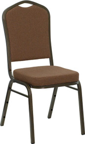 Coffee Fabric Crown Back Stacking Banquet Chair with Gold Vein Frame