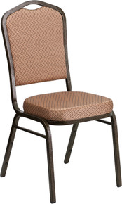 Gold Diamond Patterned Fabric Crown Back Stacking Banquet Chair with Gold Vein Frame