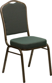 Green Patterned Fabric Crown Back Stacking Banquet Chair with Gold Vein Frame