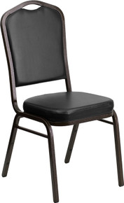 Black Vinyl Crown Back Stacking Banquet Chair with Gold Vein Frame