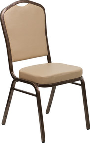 Tan Vinyl Crown Back Stacking Banquet Chair with Copper Vein Frame