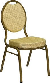 Beige Patterned Teardrop Back Stacking Banquet Chair with Gold Vein Frame