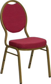 Burgundy Patterned Teardrop Back Stacking Banquet Chair with Gold Frame
