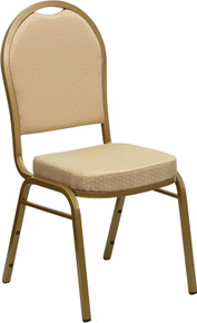 Beige Patterned Fabric Dome Back Stacking Banquet Chair with Gold Frame