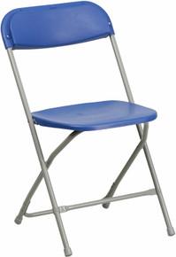 Blue Plastic Premium Folding Chair - 440 lb. Capacity