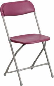 Burgundy Plastic Premium Folding Chair - 440 lb. Capacity