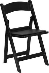 Black Resin Folding Chair with Black Vinyl Padded Seat - 1000 lb. Capacity