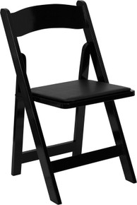 Black Wood Folding Chair with Padded Vinyl Seat