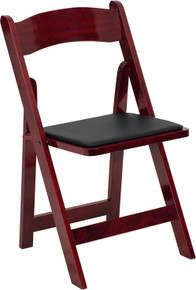 Mahogany Wood Folding Chair with Padded Vinyl Seat