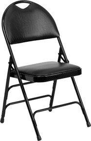Extra Large Ultra-Premium Triple Braced Black Vinyl Metal Folding Chair with Easy-Carry Handle