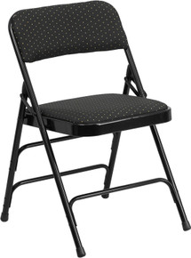 Curved Triple Braced and Quad Hinged Black Fabric Upholstered Metal Folding Chair