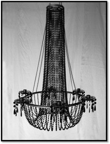 Large Black Beaded Hanging Candle Holder