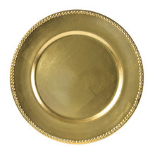 "Case of 24 Gold Lacquer 13"" Round Beaded Charger Plates"