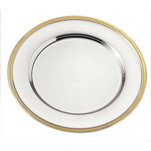 "Case of 24 Gold Plated 12"" Round Beaded Edge Charger Plates"
