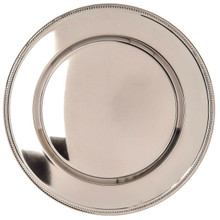 "Case of 12 Nickel Plated 12"" Round Charger Plates with Bead Rim"