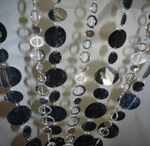 Black and Silver Circle Beaded Curtain - 3' x 6'