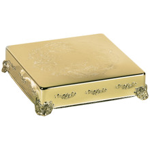 "14"" Gold Finish Square Cake Plateau"