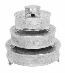 Set of 4 Round Aluminum Cake Stands