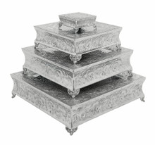 Set of 4 Square Aluminum Cake Stands