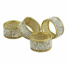 Case of 24 Gold Napkin Rings with Crystals