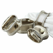 Case of 24 Nickel Plated Oval Beaded Napkin Rings