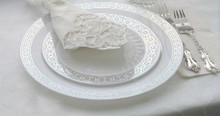 Case of 100 Palatial Premium Disposable Dinner Plates with Silver Rim 10.5""