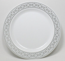 Case of 100 Palatial Premium Disposable Salad/Dessert Plates with Silver Rim 7.5""