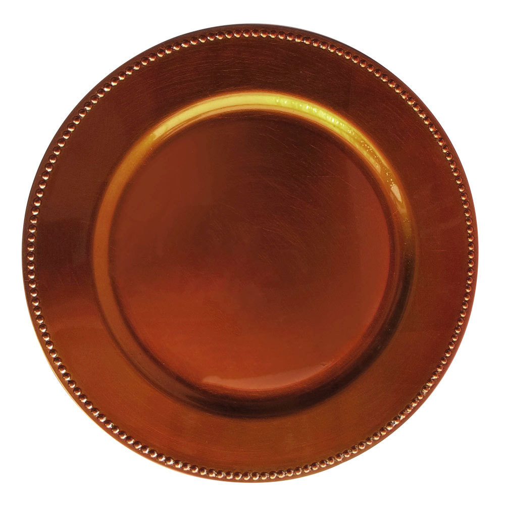 Loading zoom  sc 1 st  EVENTS Wholesale & Case of 24 Copper Round Beaded Charger Plates @ $2.75/pc - Events ...