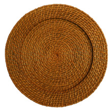 "Case of 6 Brown Honey Rattan 13"" Round Charger Plates @ $7.95 pc"