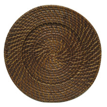 "Case of 8 Chestnut Rattan 13"" Round Charger Plates @ $7.95 pc"