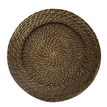 "Case of 8 Brick Brown Rattan 13"" Round Charger Plates @ $7.95 pc"
