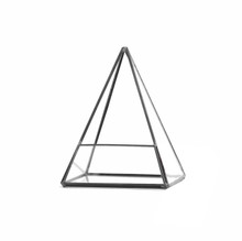 "15.5"" x 5.5"" Geometric Glass Terrarium, Pentahedron Pyramid Shape, Black Frame - Case of 6"