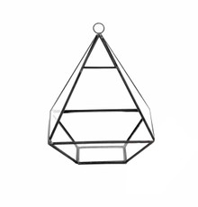 "6"" x 6"" Geometric Glass Terrarium, Nonahedron Raised Pyramid Shape, Choice of Gold or Black Frame - Case of 6"