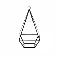 "5"" x 5"" Geometric Glass Terrarium, Nonahedron Raised Tall Pyramid Shape, Choice of Gold or Black Frame - Case of 9"