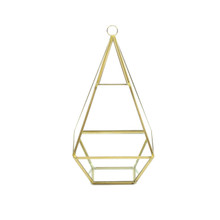 Tall Gold Raised Pyramid Geometric Glass Terrarium, Nonahedron - 9 Pieces