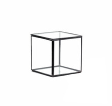 "5 x 5"" Geometric Glass Terrarium, Hexahedron, Cube Shape, Black Frame - Case of 12"