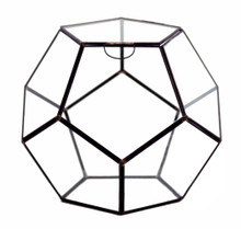 "11"" x 11"" Geometric Glass Terrarium, Dodecahedron, Black Frame - Case of 2"