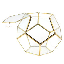 Large Gold Prism Geometric Glass Terrarium, Dodecahedron - 2 Pieces