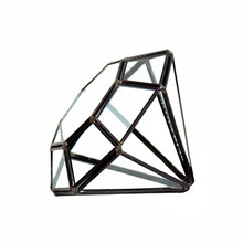 "6"" x 6"" Geometric Glass Terrarium, A Diamond, Black Frame - Case of 12"