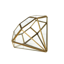 Gold Diamond Geometric Glass Terrarium - 12 Pieces